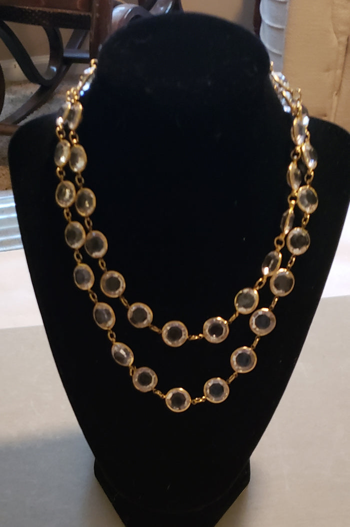 Crystal clear and gold necklace