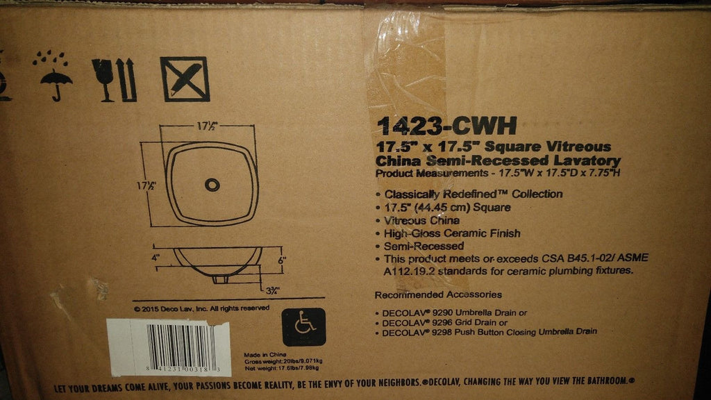 Decolav 1423-CWH Square Vitreous China Semi-Recessed Lavatory 17.5 X 17.5