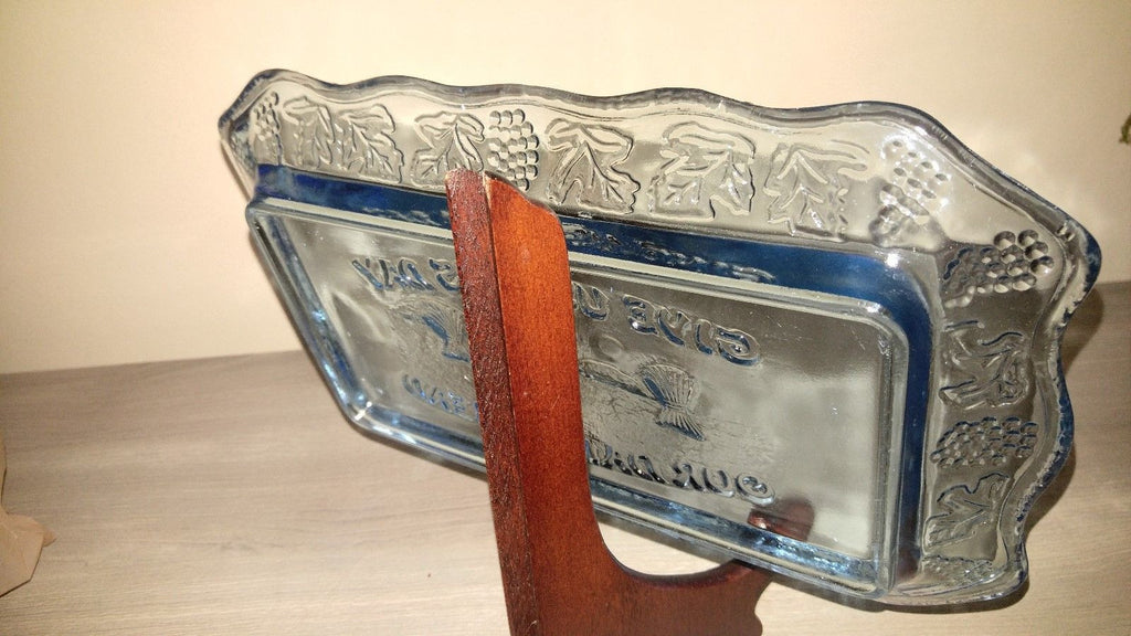 "Blue Depression Glass ""Give us our daily bread tray"""
