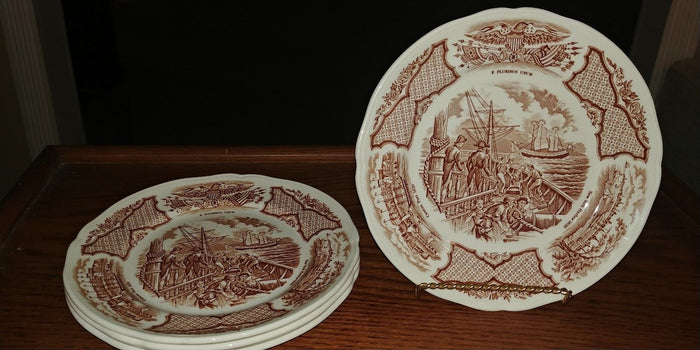 Set of 4 Alfred Meakin Fair Winds in Brown Historical Scenes Bread Plates 7""