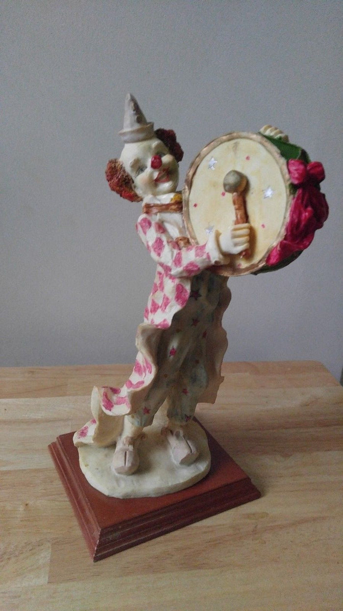 Vintage Porcelain Clown Statutes (Clown Playing Drum) (12 inches)