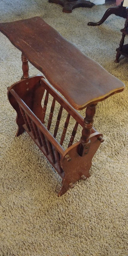 Vintage Wooden Magazine Newspaper Stand/Side Table