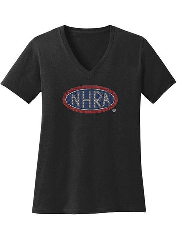 Ladies NHRA Rhinestone V-Neck T-Shirt