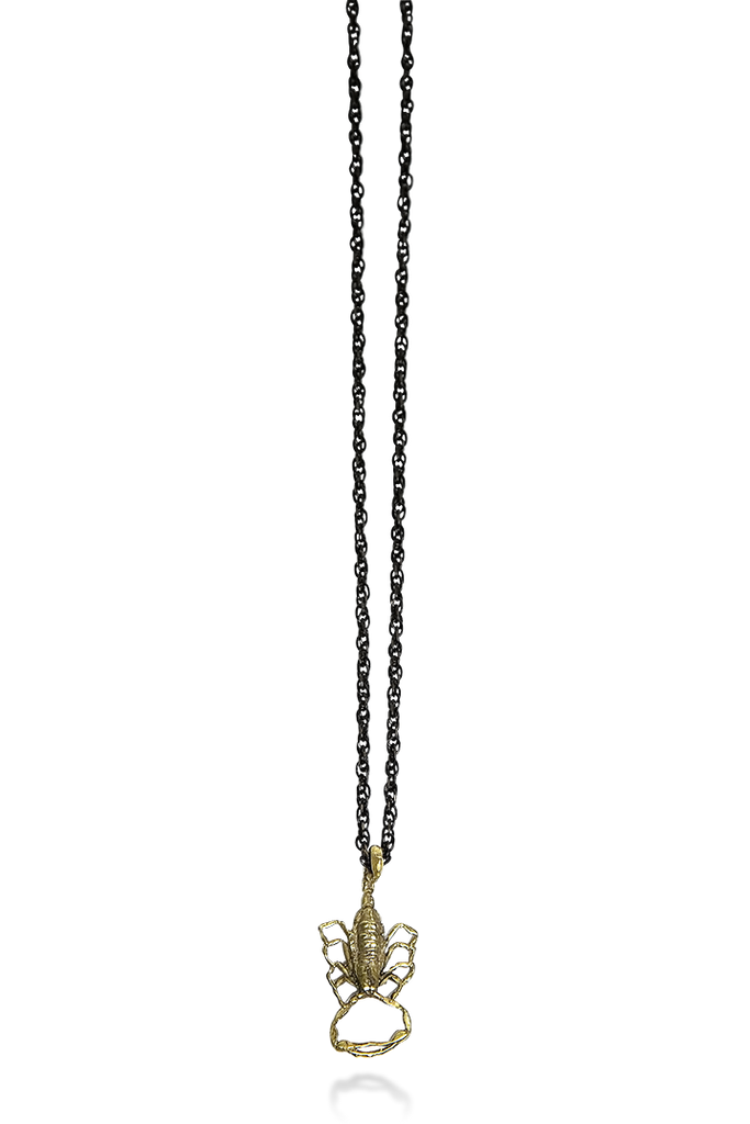 Scorpion Strike Pendant on Black Chain