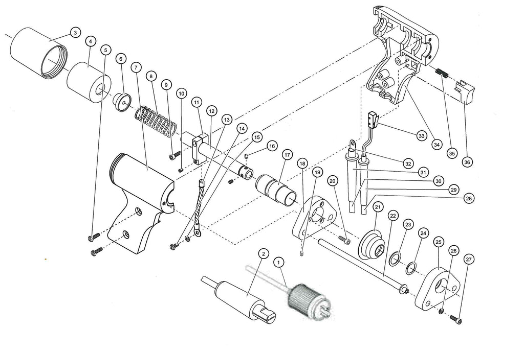 Midwest Fasteners CD Gun Exploded View