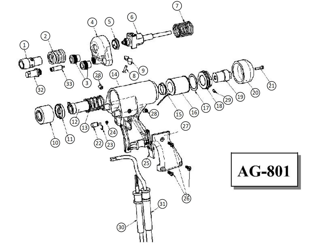 Proweld Light Duty Arc Gun with Damper Exploded View Diagram AG-801