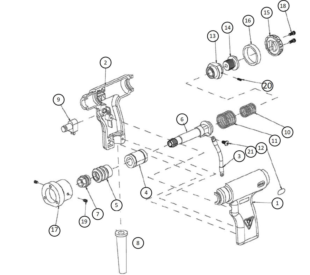 Truweld CD Gun Exploded View Diagram with Part Numbers