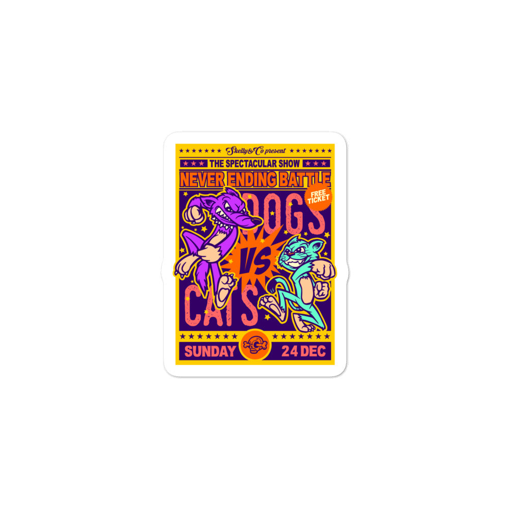 "Skelly & Co ""Cat vs Dog"" Bubble-free stickers - Skelly & Co"