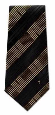 Eagles Wings 83936 Tie - Woven Plaid With Small Cross - Polyester - Gold