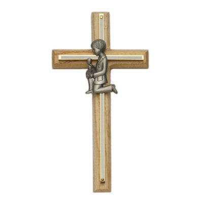 Brass Catholic First Holy communion Oak Brass cross crucifix First Holy communion Boy Wall Hanging