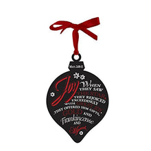 Family Christian Christmas Chalkboard Art ornament, quotes Matthew 2:10-11, marquise shape