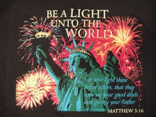 "Christian ""Be a Light unto the World"" Fireworks with Statue of Liberty Matthew 5:16 T-Shirt - Black"