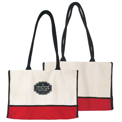 A Teacher Serves Black and Crimson Canvas Large Open Top Tote with Rope Shoulder Straps