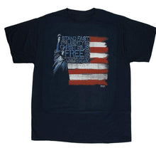 "Christian ""Stand fast therefore in the liberty by which Christ has made us free.."" the Statue of Liberty and an American flag, T-Shirt - Black"