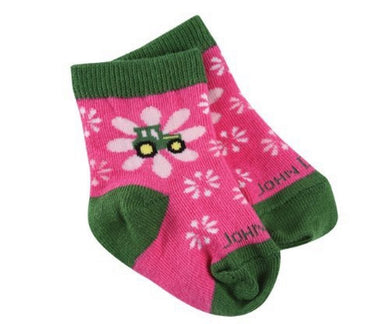 John Deere Infant/Toddler Girls Flower Tractor Socks