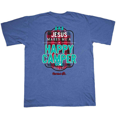 Kerusso Jesus Happy Camper Cherished Girl Southern Christian T-Shirt, Blue