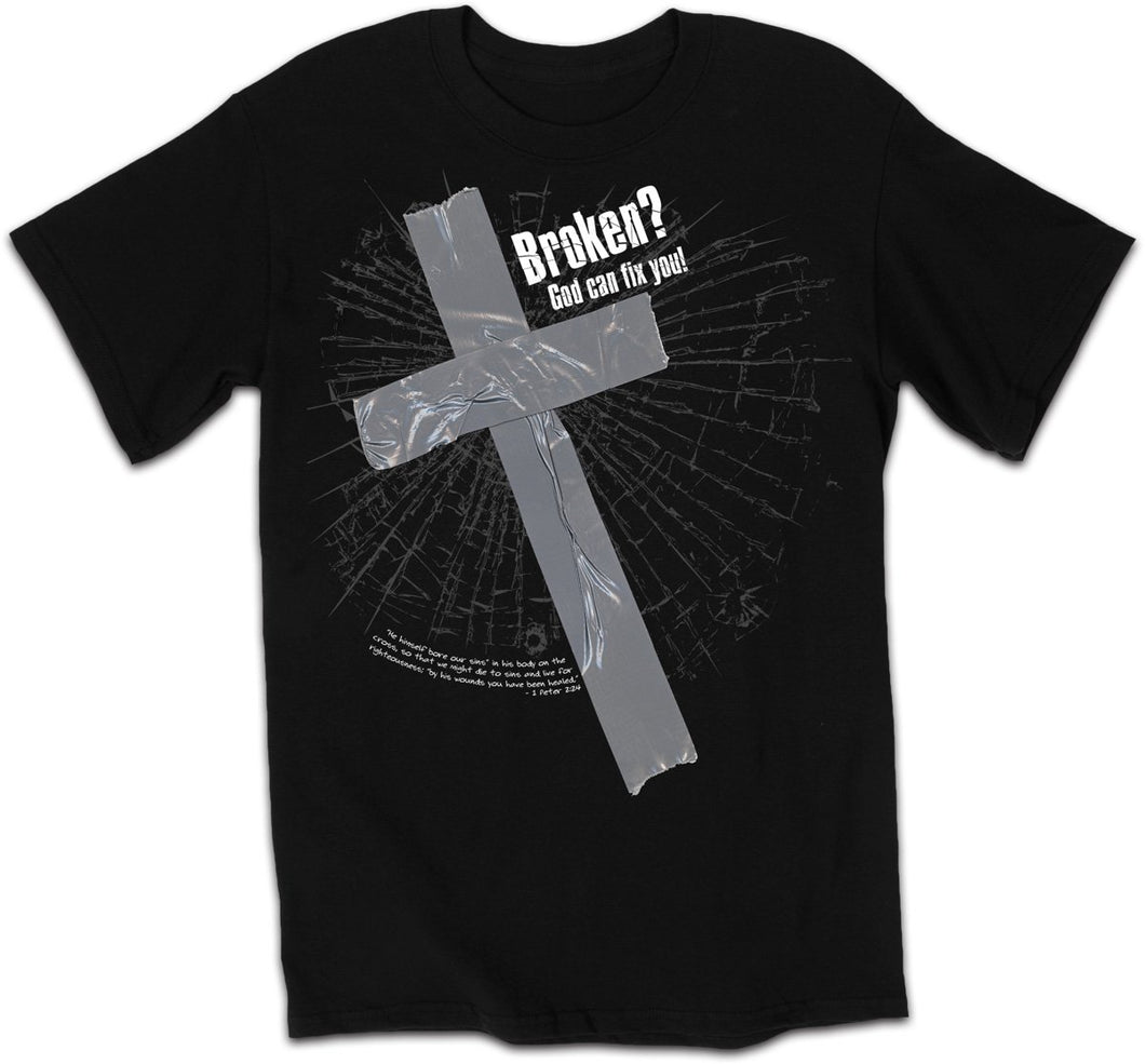 Broken? God Can Fix You! - Christian T-Shirt (Small)