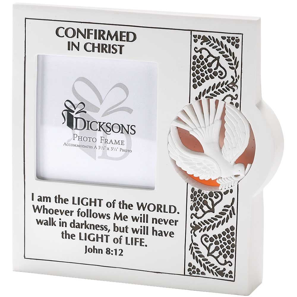 Confirmed in Christ John 8:12 Wedge Shape 7.5 inch Resin Stone Photo Frame