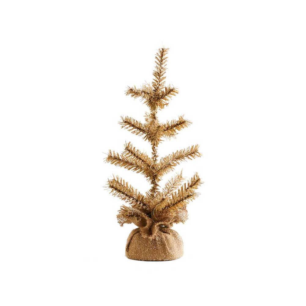 18 Inch Glittered Pine Christmas Tree with Burlap Base