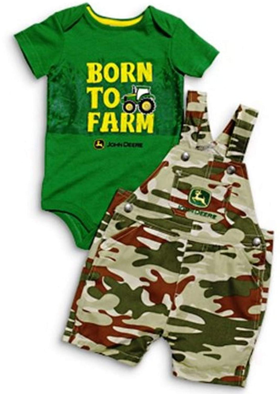 Boys Green Lap Bodyshirt, Camo Shortall Set