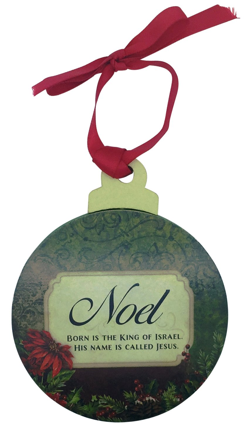 Christmas ornament in elegant round shape, crafted of wood
