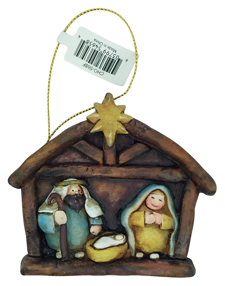 Christmas 3D Nativity and Holy Family Resin Painted Ornament