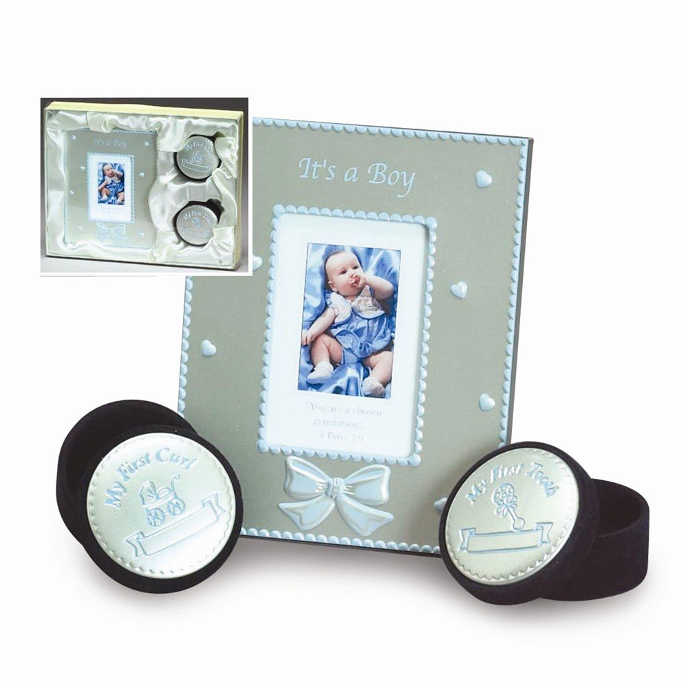 Blue Enameled Aluminum Photo Frame/Tooth & Curl Box Set - Engravable Gift Item