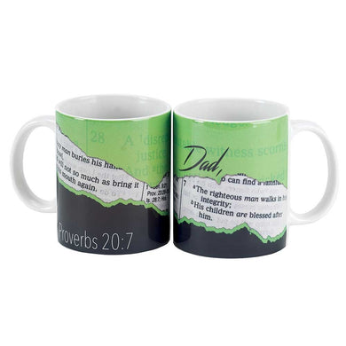 Dad Proverbs 20:7 Green and Navy Blue 11 Oz. Ceramic Coffee Cup Mug
