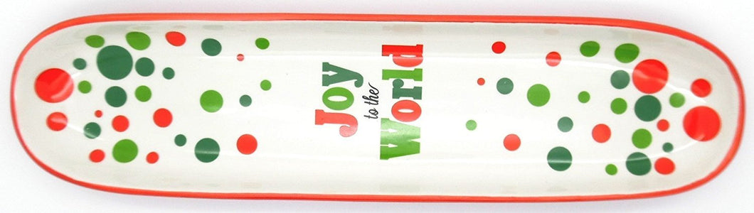 Joy to the World Tray - Tidbit Red and Green Poka Dots