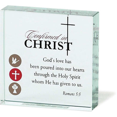 Elements Confirmed in Christ Romans 5:4 Clear Glass 3 x 3 Table Top Sign Plaque