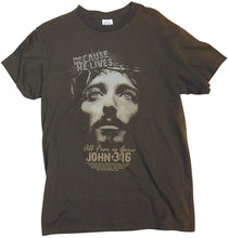 "Christian ""Because He Lives... all Fear is Gone"" with image of Jesus with Crown of Thorns John 3:16 T-Shirt - Brown"
