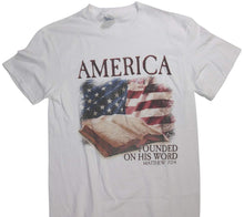 "Christian ""America .. Founded on His Word. Matthew 7:24 "" Bible over USA Flag T-Shirt - White"