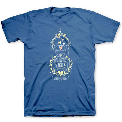 Kerusso Shine His Light Lantern Christian T-Shirt, Blue