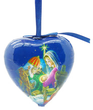 Christian Heart Shaped Six Pack Three Kings with Mary and Baby Jesus Christmas Ornaments