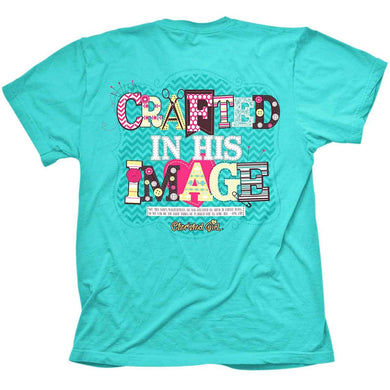 Kerusso Crafted In His Image Cherished Girl Southern Christian T-Shirt, Teal