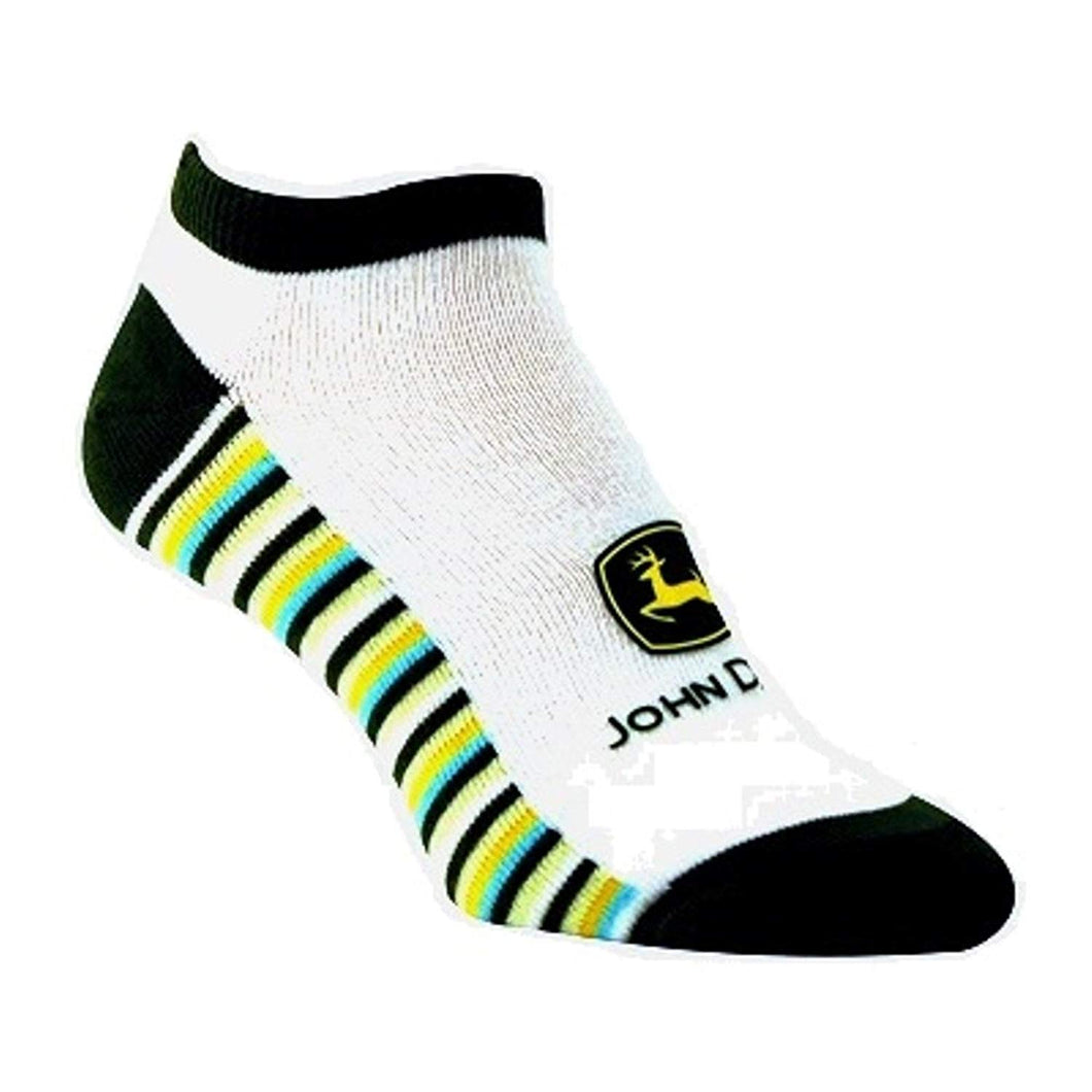 John Deere Ladies Green/White Striped Sole Ankle Socks size 4-10