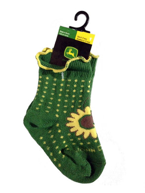John Deere Baby/toddler Sunflower Socks Size 6 - 12 Months, Sunflower and Polka Dots