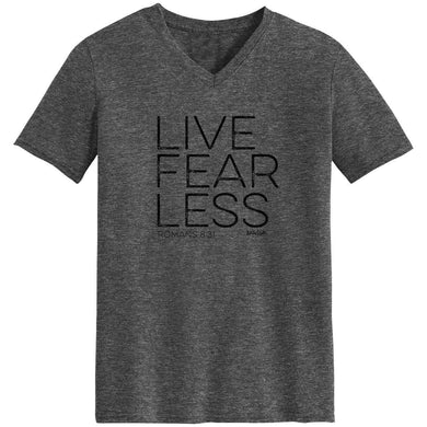 Kerusso Live Fear Less V-Neck Christian T-Shirt, Dark Grey