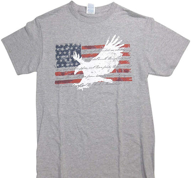 Christian American Flag with Eagle overlay with scripture verse 2 Chronicles 7:14 Adult T-Shirt - Gray