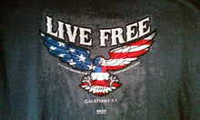 "Christian ""Live Free"" features Patriotic Eagle outstretched wings overlay with Flag, Varsity T-Shirt - Charcoal Gray"