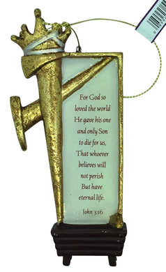 Christmas Gold Nail and Crown with Manger and John 3:16 Ornament