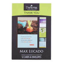 DaySpring Thank You Boxed Greeting Cards w Embossed Envelopes - Max Lucado, 12 Count