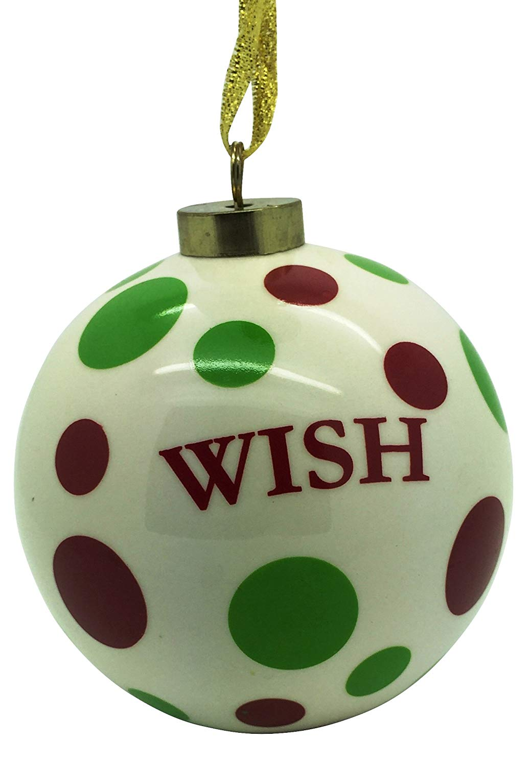 Christmas 4 inch Round with Red and Green Poka Dot