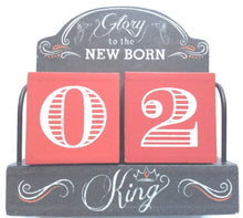 """Glory to the NEW BORN King"" - Advent calendar days numbered wooden blocks Decor"