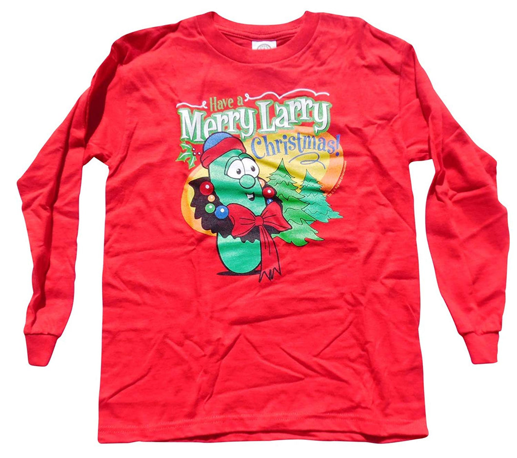 Christian Veggietales Have a Larry Merry Christmas Youth Red Long Sleeve T-Shirt