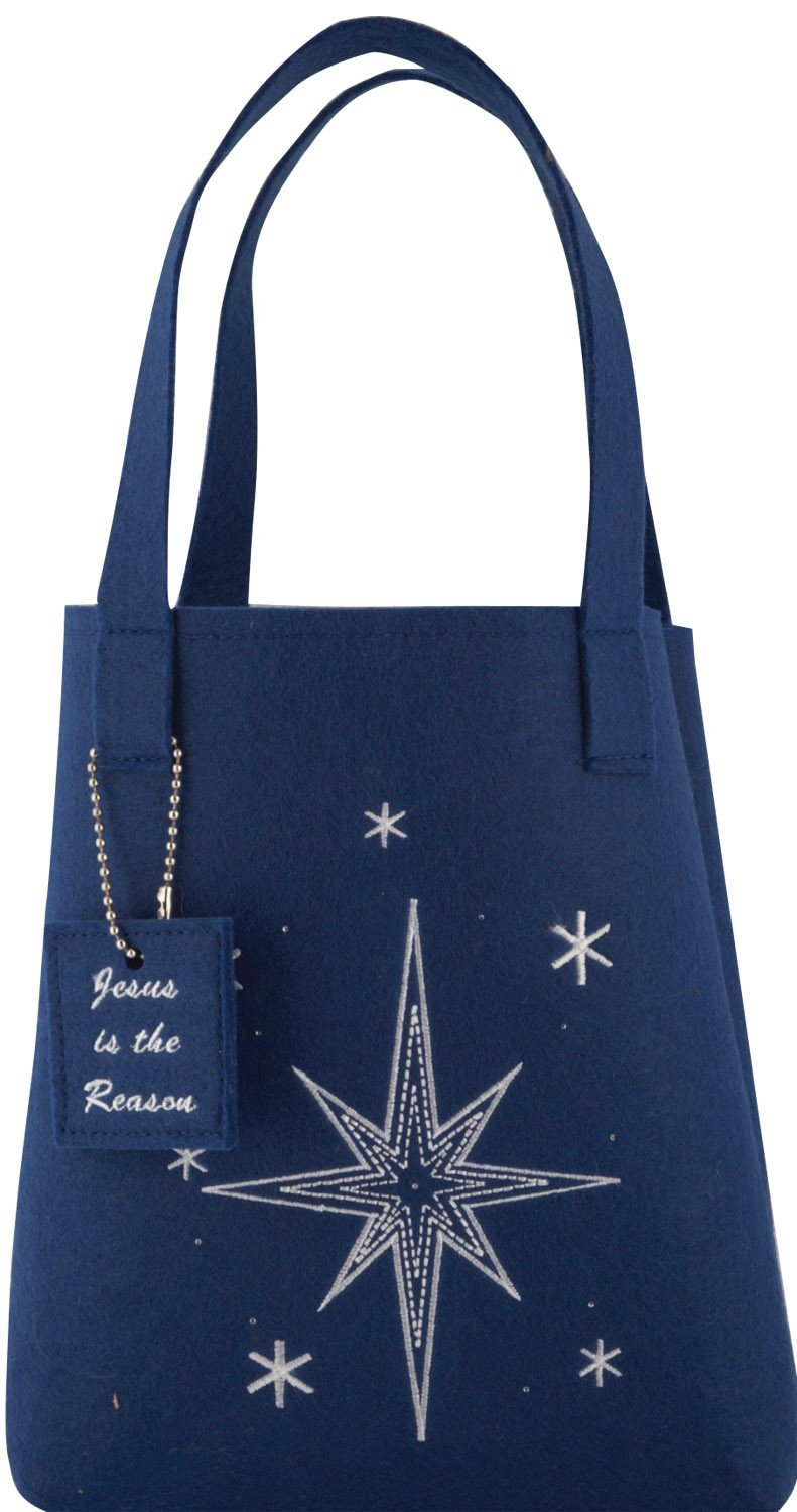 Christian Christmas Fiber Optic Tote Gift Bag - Blue Star