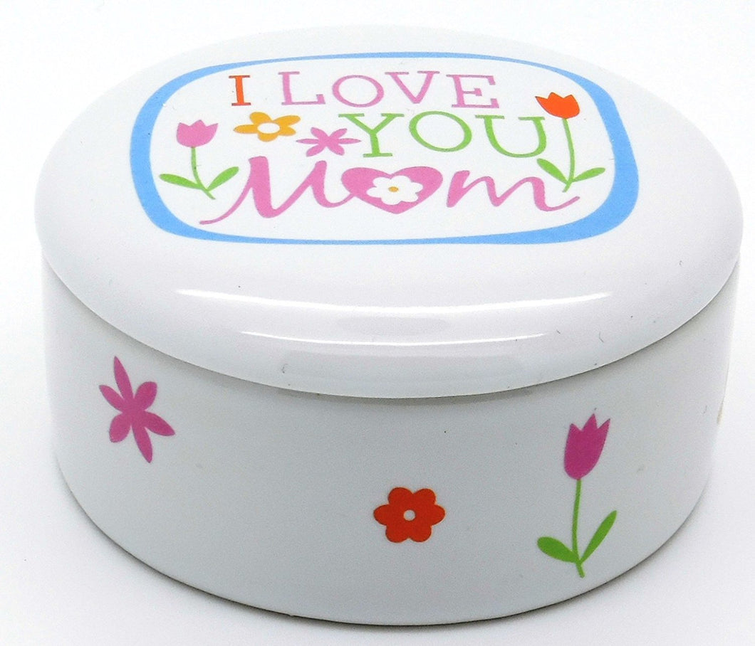 LCP Gifts I Love You Mom Keepsake Box Ceramic Proverbs 31:29 Size: 3 1/8