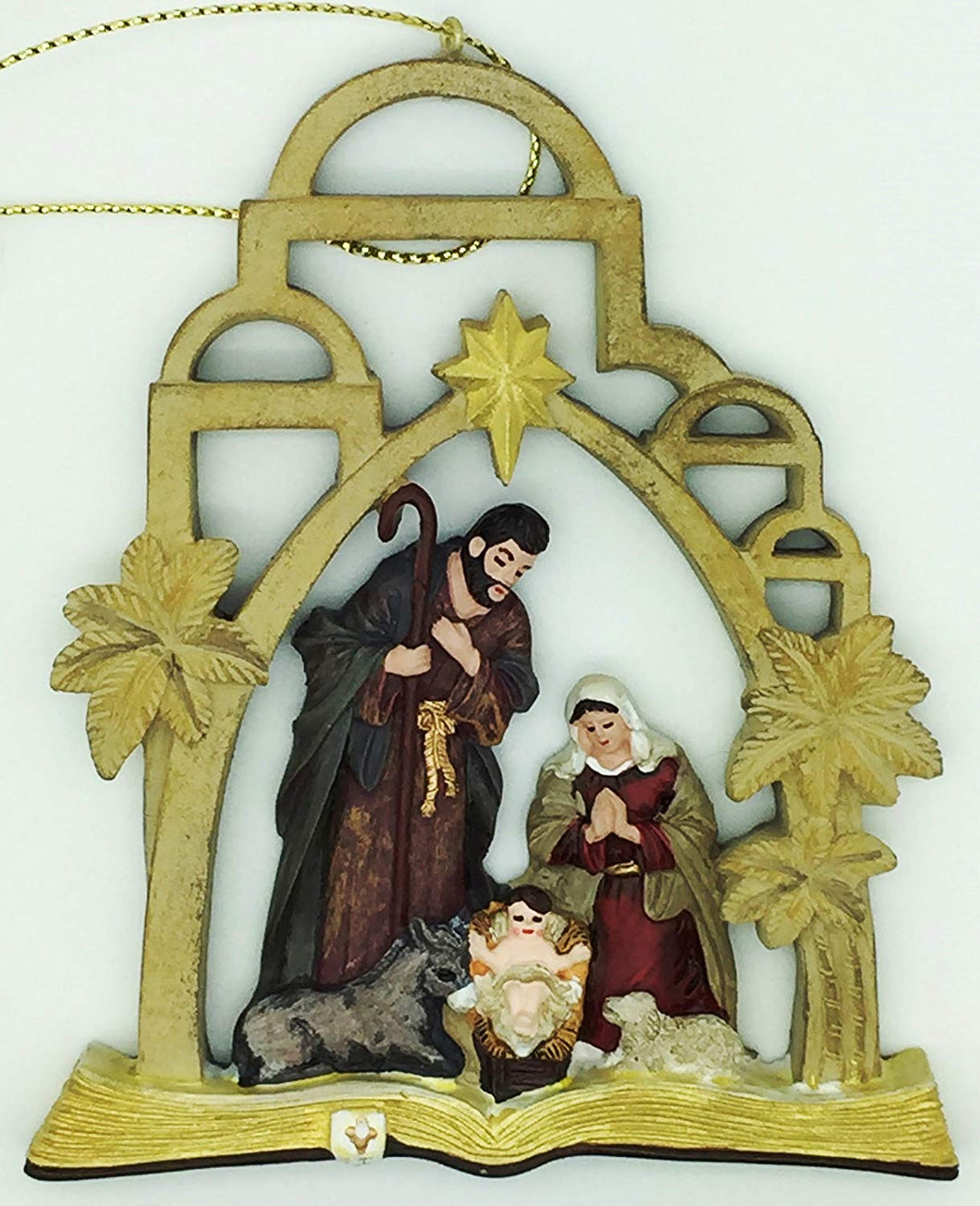 Christmas Arch Nativity with Holy Family on Open Bible Painted Ornament