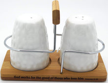 "Christian ""Believe"" White Ceramic Salt and Pepper Shaker set with Bamboo Holder - Romans 8:28"