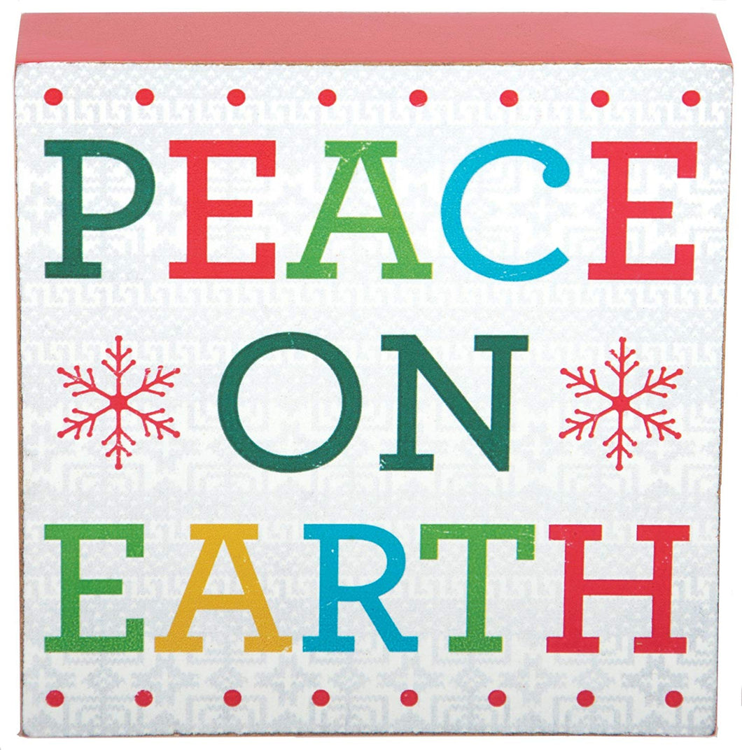 Christmas Peace on Earth Plaque 4 inch X 4 inch